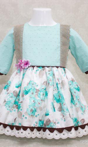 vestido para niña de 1 a 5 años modelo Lago Turquesa otoño-invierno 2015-2016 Vega y Valle