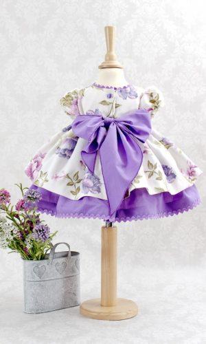 vestido para niña · flores en primavera malva