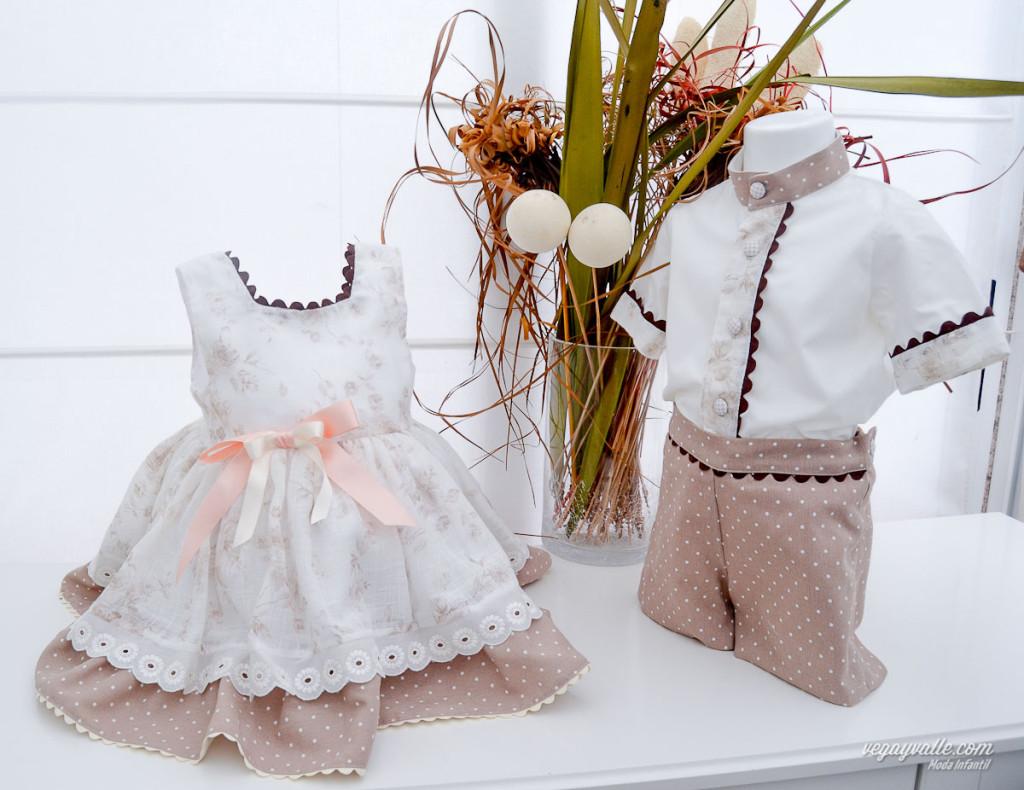 vestido para niña y conjunto para niño en tonos tostados ideal para los idas calurosos de verano