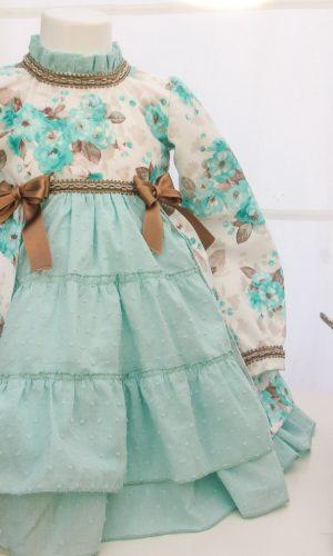 Vestido para niña color verde Modelo Acacias